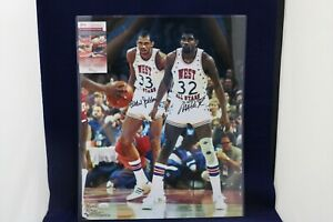 Magic Johnson & Kareem Abdul-Jabbar Dual Signed Autographed 16x20 Photo - JSA