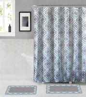 15-Pc. Bathroom Set- 2 Memory Foam Bath Mats with Matching Shower Curtain-Grey