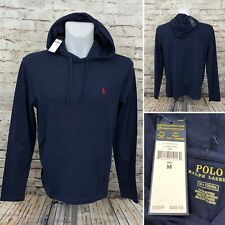 Polo Ralph Lauren Men's Classic Hooded T Shirt Navy Blue Size Medium