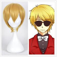 Anime Homestuck Dave Strider Short Yellow Blonde Cosplay Wig + free wig cap