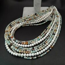 """Amazonite Necklace White Pearl Mixed Color Amazonite 8 rows 19""""-23''"""