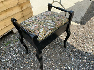 Vintage Piano stool with storage firm floral pattern seat S2E129621D
