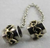 """Genuine Pandora Silver & Gold two tone """"Hearts"""" Safety Chain 7cm 790307"""
