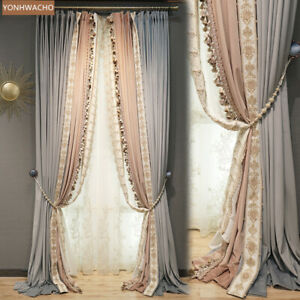 French luxury gray velvet thick embroidery cloth curtain tulle panel C109
