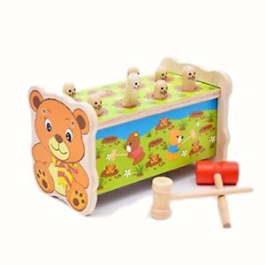 Bear Pounding Bench Wooden Toy With Hammer,cute Gophers Pegs Education Toy with