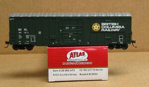 ATLAS 20 002 673 HO British Columbia Railway NSC 5277 PD Box Car #851011