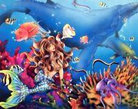 Lady Mermaid and Dolphin Ocean Underwater Fish Fantasy Wall Art Print (8x10)