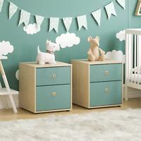 Chest of Drawers 2 Drawer Bedside Table Bedroom Furniture Blue & Oak Set of 2