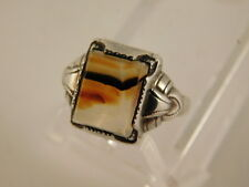 OSTBY BARTON MOSS PICTURE AGATE STERLING RING SIZE 4.75 SILVER VINTAGE
