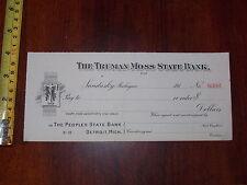 RARE OLD VINTAGE BLANK CHECK TRUMAN MOSS STATE BANK SANDUSKY MICHIGAN PEOPLE