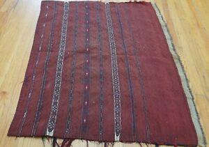 "Antique 1880s Turkmen 9 Line Bag-Face Hand Woven Wool Textile Cleaned 3' x 3'6"""