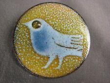 Rare Handmade Vintage Copper Enamel Modernist Bird Pin Denmark Signed JEDDE