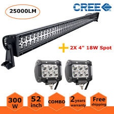 52 inch 300W LED Offroad Light Bar Driving Combo 4WD&18w Pods Lamp Black Series