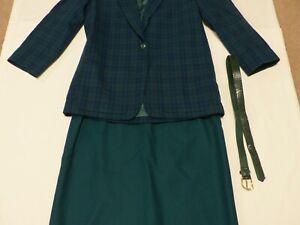 Vintage Miss Pendleton Dark Green Wool Skirt Jacket Suit set Size 14 with belt
