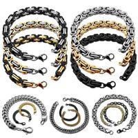 Herren Armband Armkette Edelstahl Königskette Silbern Schwarz Golden Bis 24cm