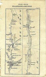 Antique map, Glasgow to Irvine