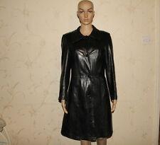 "Vintage Black Leather Button Fitted Biker Knee Length Jacket Coat Chest Sz 35 """