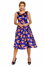 Abito Stampa Floreale Ballo Cocktail Cerimonia Top Floral Vintage Swing Dress S