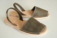 khaki Newbuck Leather Menorcan Avarca Sandals. UK 3-8
