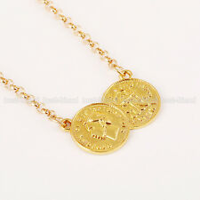 Fashion Women Lucky Double Coins Pendant Gold Chain Choker Necklace Jewelry Hot