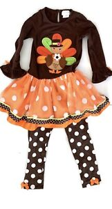 Emily Rose Girl's Thanksgiving 2 Piece Set Pants and Top Size 6