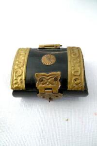 "Mini Carved Vintage TREASURE CHEST Trinket Box w/Brass Overlay 2"""