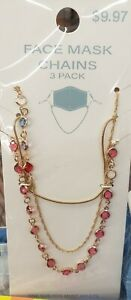 3 pack. Beaded Face Mask Chain lanyard - NEW (perfect for back to school)