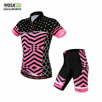 Women Short Sleeve Cycling Jersey Shorts Set Ladies Riding Bicycle Bike Clothing