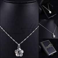 Kette Halskette *Silber Blume*, Weißgold pl., Swarovski Elements, +Etui original