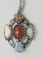 Vintage Jacobite Celtic Pendant Silver Tone Necklace Agate Color Stones Gorgeous