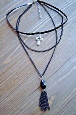 Black Bead Tassel Necklace Silver Cross Choker Chain Gypsy Boho Fashion Jewelry