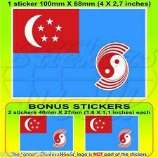 "SINGAPORE AirForce RSAF 1973-90 Bandiera Adesivi 100mm (4"") Sticker x1+2 BONUS"