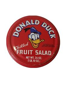 Vintage Disney Donald duck chilled fruit salad glass jar With Metal lid