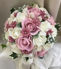 Brides Wedding Bouquet. Vintage pink and ivory posy with lace, pearls & diamante