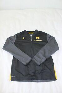 Nike Jordan Michigan Wolverines Grey Dri Fit Jacket Size M 1/4 Zip Polyester