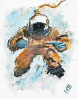 PRINT Graffiti Abstract Visionary Astronaut Orange Suit Contemporary Space Art