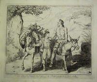 1834 Aufdruck Bartolemeo Pinelli ~ Don Quixote Auf Mule Pedro Alonso Broken