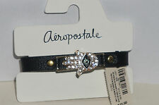 AEROPOSTALE Hamsa Black Faux Leather Snap Bracelet w Crystal/Enamel Accent NWT