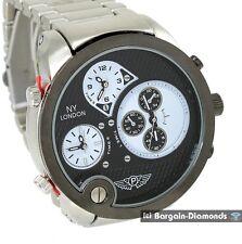 mens big 3 time zone steel sports dress watch black dial steel link bracelet