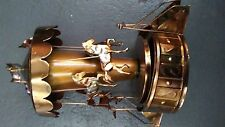 CAROUSEL. ..VINTAGE MUSIC BOX--SPINS & PLAYS THE IMPOSSIBLE DREAM....COPPER