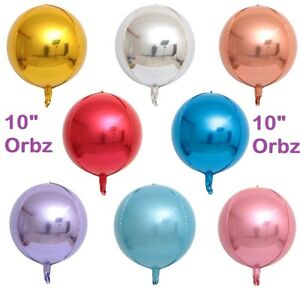 """Orbz Balloons 10"""" Sphere Pink Blue Silver Gold Rose gold Orb HELIUM Foil Balloon"""