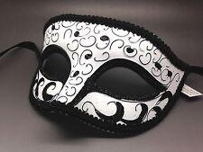 White & Black Venetian Men Elegant Masquerade Mardi Gras Costume Mask