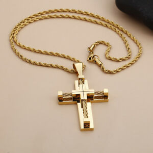 4 Color Mens Necklace Chain Stainless Steel wire crucifix Cross Pendant Jewelry