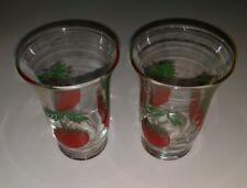 Vintage! Set of 2 Juice Glasses, Tomato Design, Drinking Glasses!