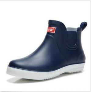 Men's Waterproof Rain Boots Ankle Boots High Top Shoes Pull On Casual Shoes Hot