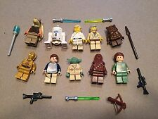 LEGO lot of 10 Star Wars Good Guy Minifigs Yoda Luke Leia Han R2-D2 Chewie T324