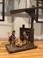 Vintage Nativity Creche Italy Wood Slant Frame With Holy Family Rare Design
