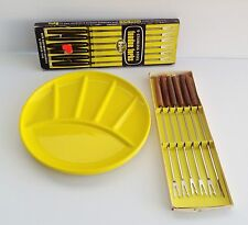 Lot of 4 vintage enamel fondue plates & fondue forks in original box Mid Century