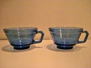 2 VINTAGE HAZEL ATLAS MODERNTONE COBALT BLUE GLASS COFFEE CUPS - EXCELLENT!