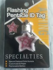 NEW SPECIALTIES FLASHING PENTACLE STAR PET ID SAFETY TAG DOG CAT LIGHT